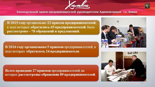 Городской округ Химки: Итоги по развитию малого и среднего предпринимательства за 2015 год и планы на 2016 год